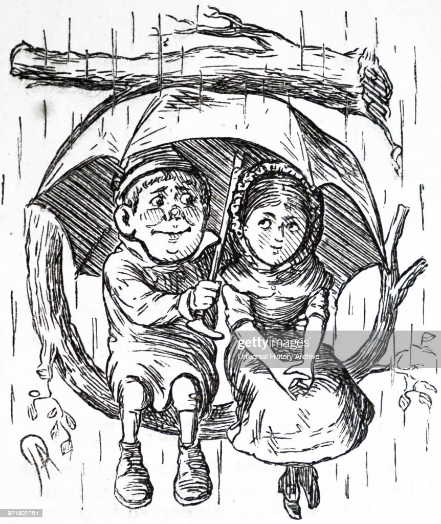 Cartoon depicting a young boy and girl sitting under his umbrella, sheltering themselves from the rain. Dated 19th century.