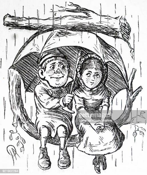 Cartoon depicting a young boy and girl sitting under his umbrella sheltering themselves from the rain Dated 19th century