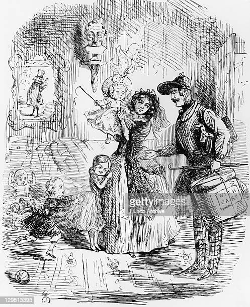A cartoon depicting Albert Prince Consort and Queen Victoria arriving at Buckingham Palace with their children circa 1846 The caption reads 'There's...