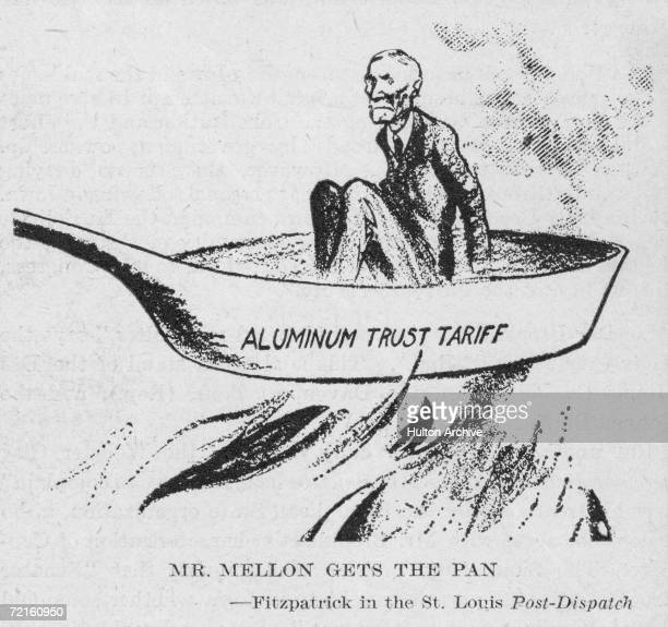 A cartoon depicting American banker industrialist and Secretary of the Treasury Andrew William Mellon in an uncomfortable position in a frying pan...