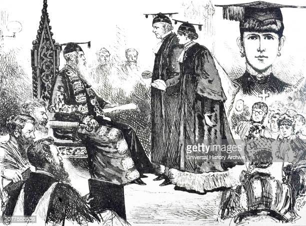 Cartoon depicting Bella Guerin, the first woman to be awarded a BA degree, graduating from Melbourne University. Bella Guerin an Australian feminist,...