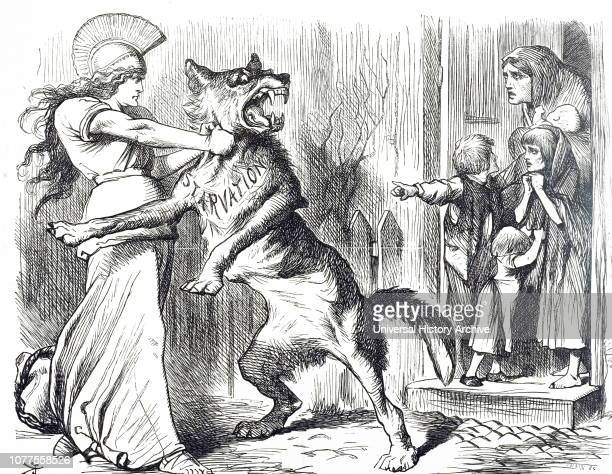 A cartoon depicting Britannia holding the Wolf of Starvation back from the door of the Irish Peasants Illustrated by John Tenniel an English...