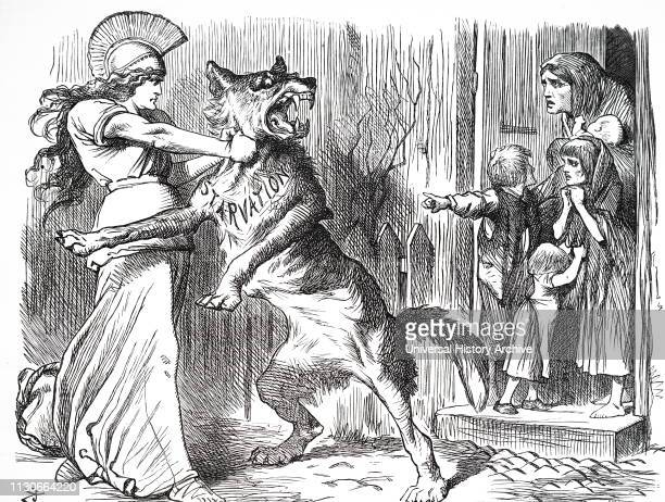 A cartoon depicting Britannia holding the wolf of starvation from the door of the Irish peasants Illustrated by John Tenniel an English illustrator...