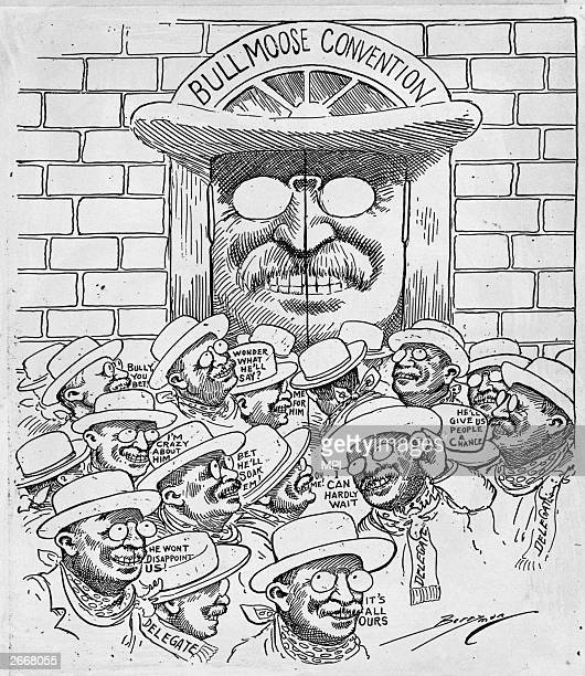 A cartoon depicting delegates at the convention of Theodore Roosevelt's Progressive or Bull Moose Party Original ArtworkCartoon by Clifford K Berryman