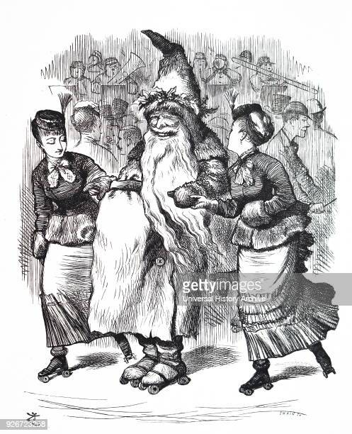 Cartoon depicting Father Christmas roller skating Illustrated by John Tenniel an English illustrator graphic humourist and political cartoonist Dated...