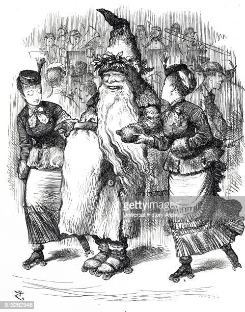Cartoon depicting Father Christmas rollerskating Illustrated by John Tenniel an English illustrator graphic humourist and political cartoonist Dated...