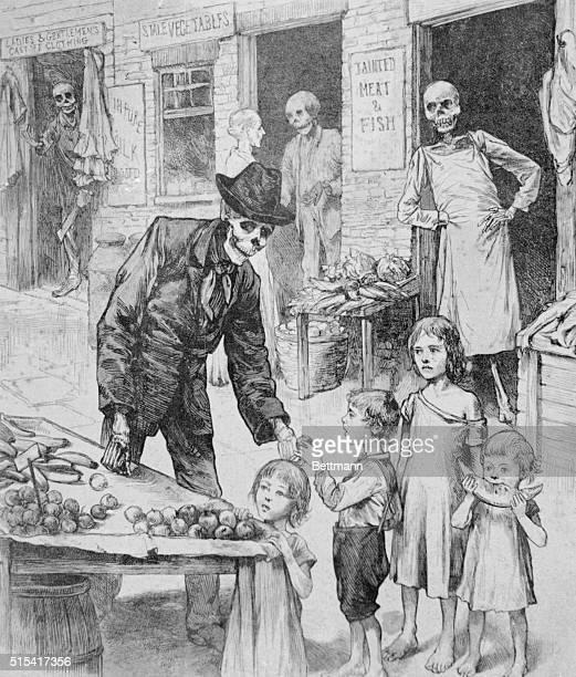 Cartoon depicting how bad food helps spread cholera 1884