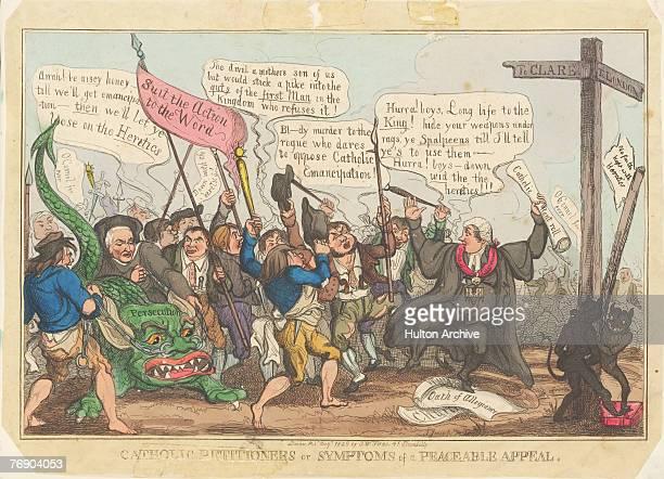 A cartoon depicting Irish statesman Daniel O'Connell leading an angry mob toward London to demand Catholic Emancipation 1828