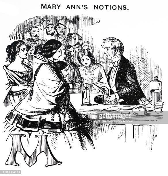 A cartoon depicting Michael Faraday British chemist and physicist surrounded by women at The Royal Institution of Great Britain Dated 19th century