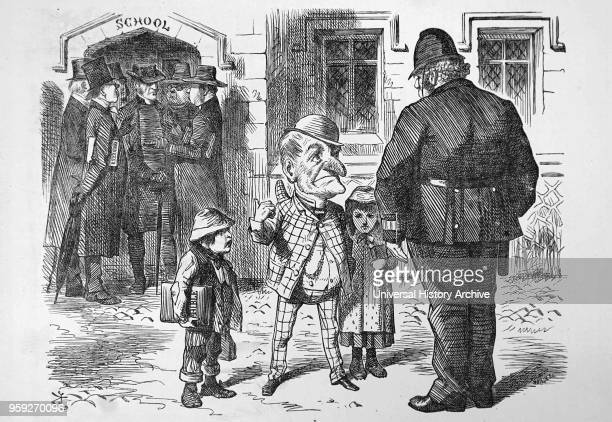 Cartoon depicting Mr Punch appealing to John Bull who is dressed as a policeman asking him to clear the arguing representatives from the school door...