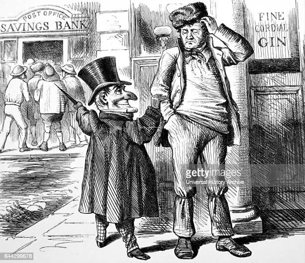 Cartoon depicting Mr Punch's advice to the British workman at the time of the opening of the Post Office Savings Bank Dated 19th Century
