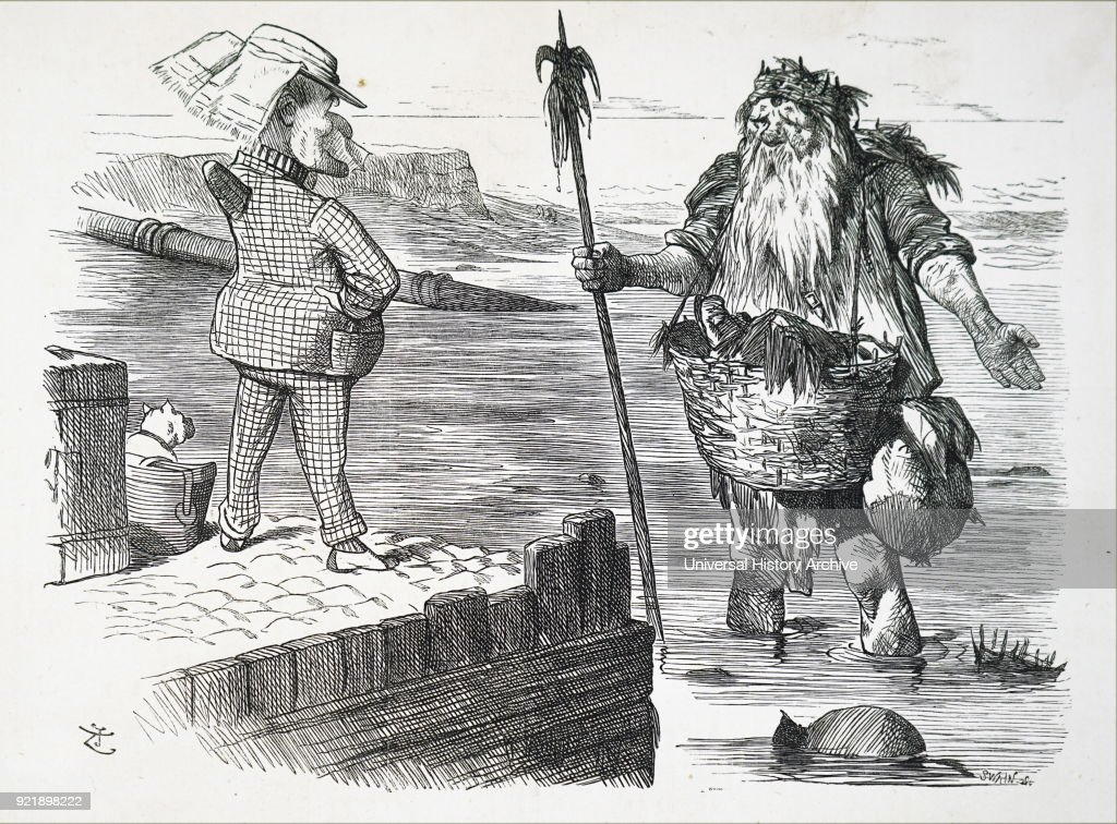 Cartoon depicting Old Father Thames looking ashamed of his filthiness. Illustrated by John Tenniel (1820-1914) an English illustrator graphic humourist, and political cartoonist. He was knighted for his artistic achievements in 1893. Dated 19th century.