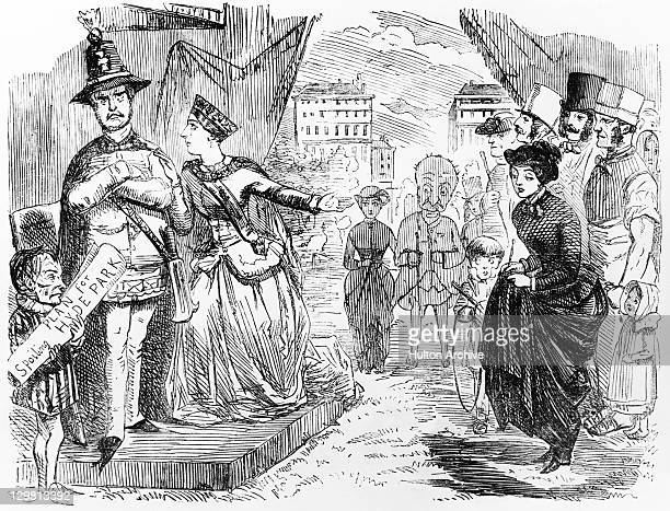 A cartoon depicting Queen Victoria speaking to Albert Prince Consort about an unpopular proposal for a building in Hyde Park for the Great Exhibition...