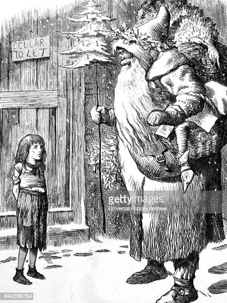 Cartoon depicting Santa Claus visiting a young destitute girl standing outside in the snow Dated 1883