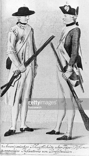 Cartoon depicting 'The American Rifle Men' with the words 'Death or Liberty' written on their caps as published in Gentlemen's and London Magazine in...