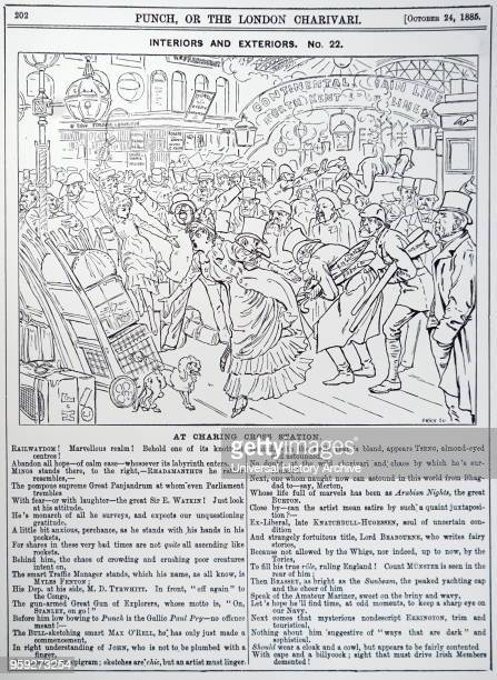Cartoon depicting the chaotic state of Charing Cross station Illustrated by Harry Furniss an Irish artist and illustrator Dated 19th century