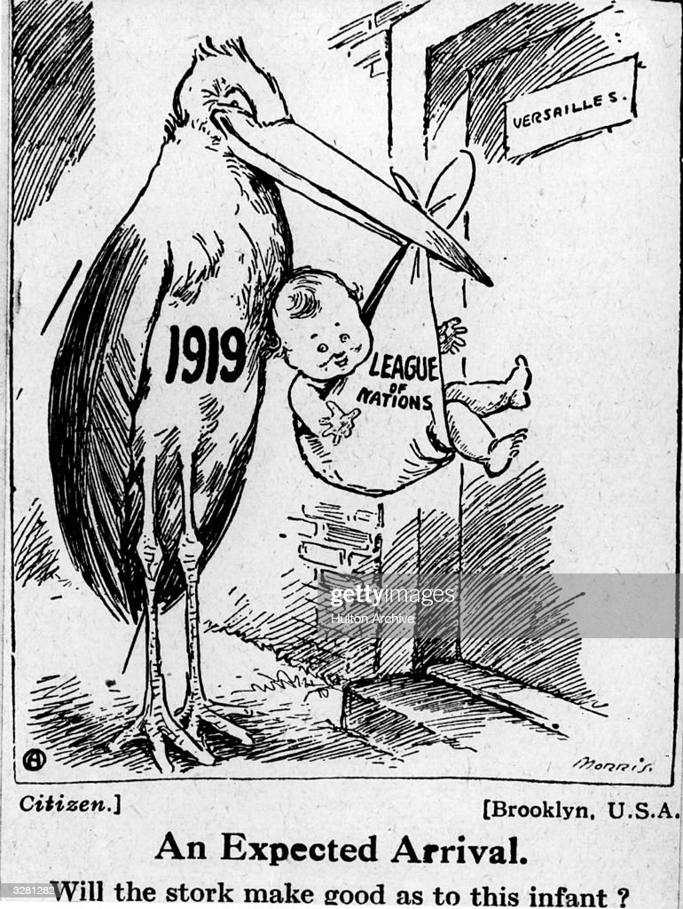 A cartoon depicting the formation of the League of Nations after the First World War. The caption reads; 'Will the stork make good as to this infant?'