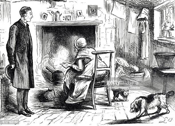 Cartoon depicting the interior of a cottage an old woman sits on a chair beside an open fire Dated 19th century