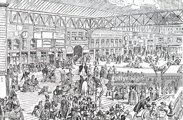Cartoon depicting the interior of Waterloo Station as it appeared before it was rebuilt in the early 20th century Dated 19th century