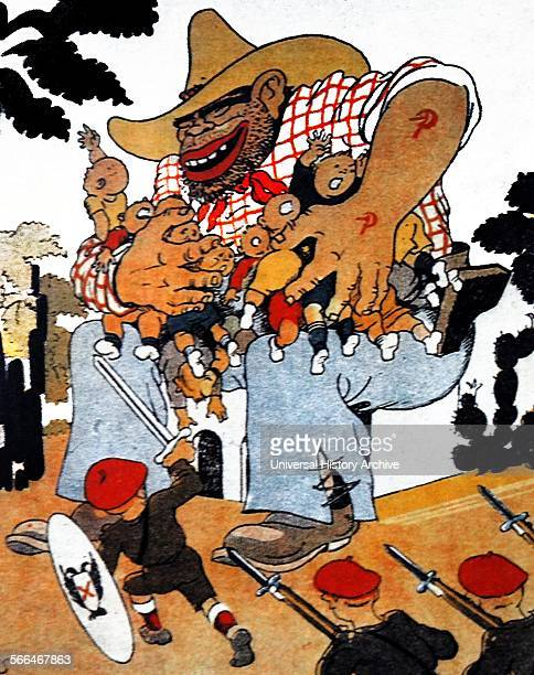 Cartoon depicting the ogre stealing Spanish children while Carlist youth try to rescue them This cartoon refers to the evacuation of children to The...