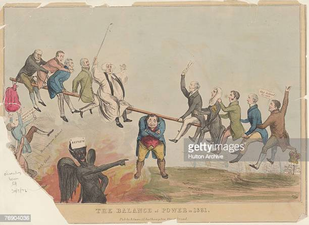 A cartoon depicting the Reform Act of 1831 John Bull supports a political seesaw on his back with the Tories on the left weighed down by the Charles...