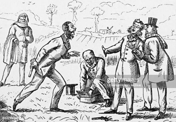 Cartoon depicting the settling of a quarrel with pistols in London Dated 19th Century
