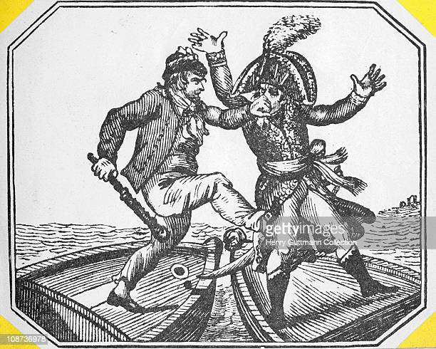 A cartoon depicting the thwarting of Napoleon Bonaparte's planned invasion of Great Britain during the Napoleonic Wars 1805
