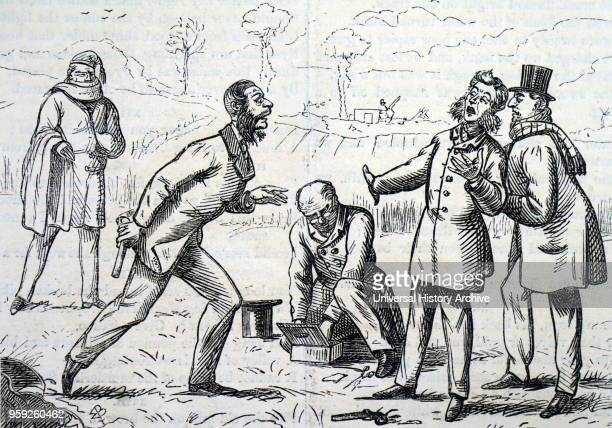 Cartoon depicting two quarrelling gentlemen preparing to duel to settle their argument Dated 19th century