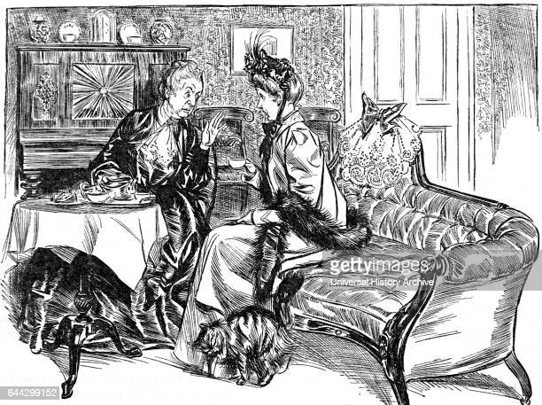 Cartoon depicting two women sat gossiping over afternoon tea Dated 20th Century
