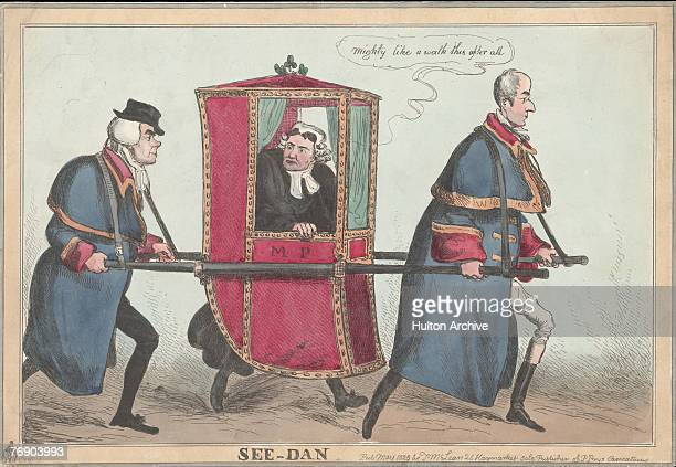 A cartoon depicting Whig politicians Henry Brougham 1st Baron Brougham and Vaux and Francis Burdett carrying Irish statesman Daniel O'Connell in a...