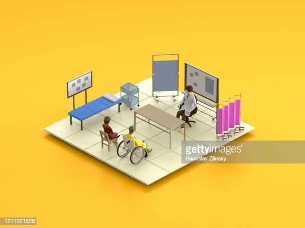 cartoon doctor scene on orange background - isometric stock pictures, royalty-free photos & images