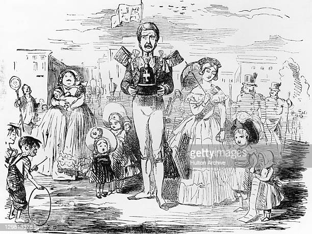 A cartoon entitled 'A Case Of Real Distress' depicting Albert Prince Consort and Queen Victoria with their children circa 1846 The cartoon alludes to...
