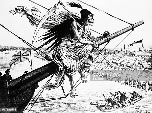 Cartoon entitled The Kind of 'Assisted Emigrant' We Can Not Afford to Admit depicting the grim reaper arriving on a British ship draped with a cloth...