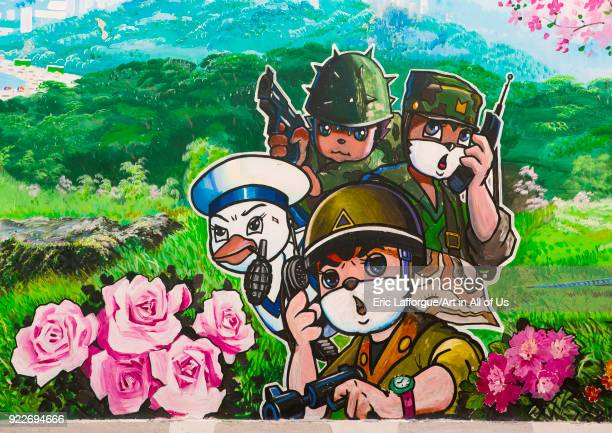 Cartoon fresco at Songdowon international children's camp Kangwon Province Wonsan North Korea on September 10 2012 in Wonsan North Korea