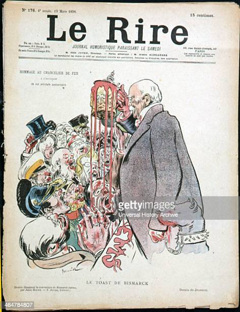 Cartoon from 'Le Rire' Paris 19 March 1898 dedicated to Otto von Bismarck German statesman known as the Iron Chancellor on his forthcoming birthday...