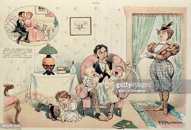 A cartoon from Puck magazine showing a caricature of a marriage after five years in which the wife is leaving the husband home with the children...