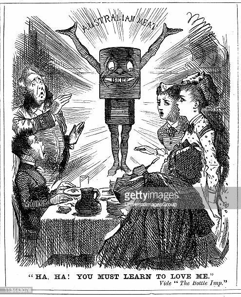 Cartoon from Punch London 1873 telling the British public that they must learn to love canned meat from Australia