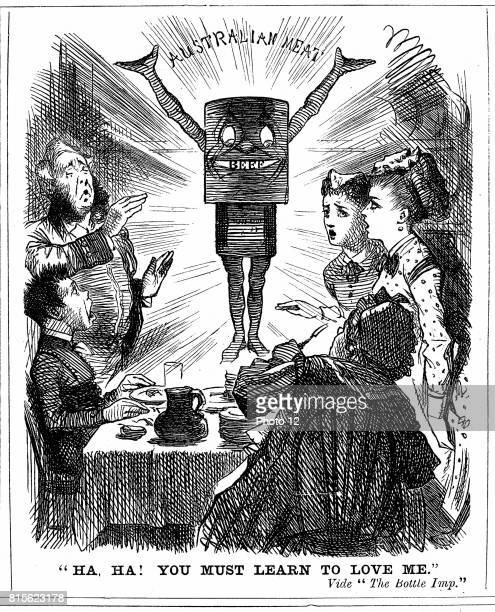 Cartoon from 'Punch' London 1873 telling the British public that they must learn to love canned meat from Australia