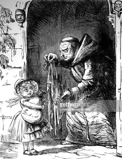 Cartoon from 'Punch' Magazine showing a priest all too keen to take a child's savings for church benefit 1851