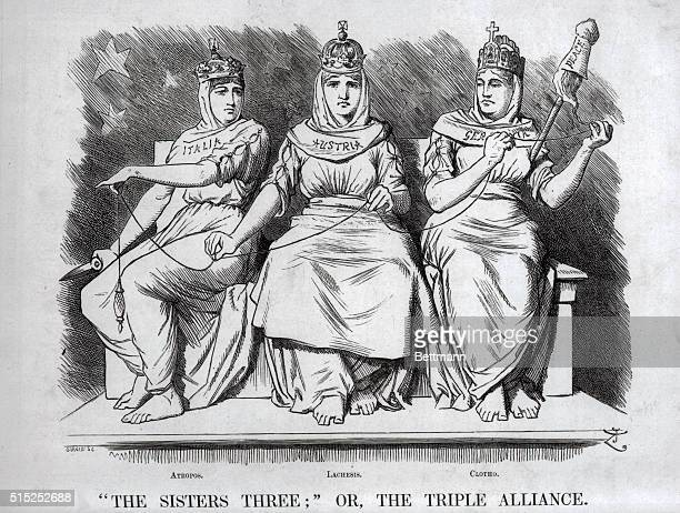 10/1888 Cartoon from Punch showing the members of the Triple Alliance as the three daughters of Zeus who control human destiny in this case the fate...
