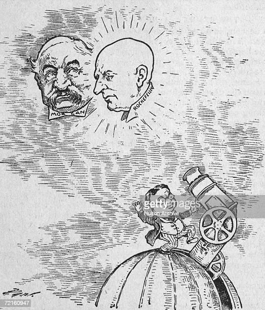 A cartoon from the Minneapolis Journal circa 1904 depicting American industrialists J P Morgan and John D Rockefeller as celestial bodies observed by...