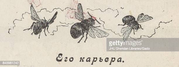Cartoon from the Russian satirical journal Krasnyi smekh showing three bees flying in front of smoke 1905