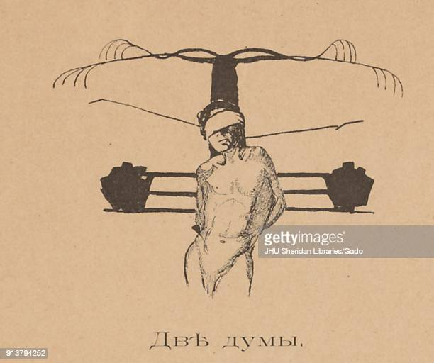 Cartoon from the Russian satirical journal Maski depicting a nude man blindfolded and tied to a crossshaped object with text reading 'Two Dumas'...