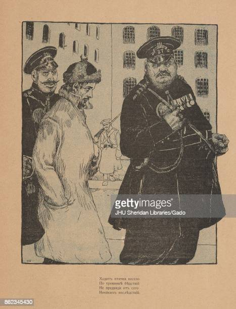 Cartoon from the Russian satirical journal Maski depicting two policemen escorting a man with one hand in his pocket and the other reaching into his...