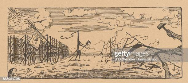 Cartoon from the Russian satirical journal Miting depicting an army of whips one with a spear one carrying a flag with a skull and crossbones on it...