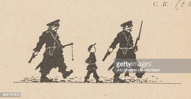 Cartoon from the Russian satirical journal Na Rasputi depicting two men in police uniforms with weapons marching with a young boy in school uniform...