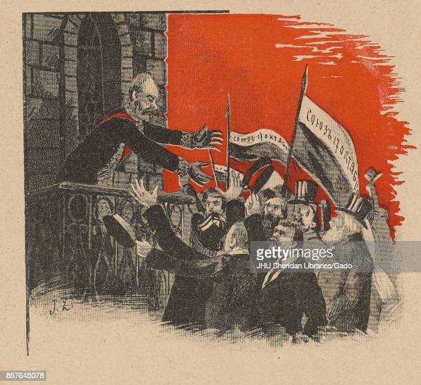 Cartoon from the Russian satirical journal Ovod depicting Tsar Nicholas II surrounded by a crowd of people waving flags with 'Union October 17'...
