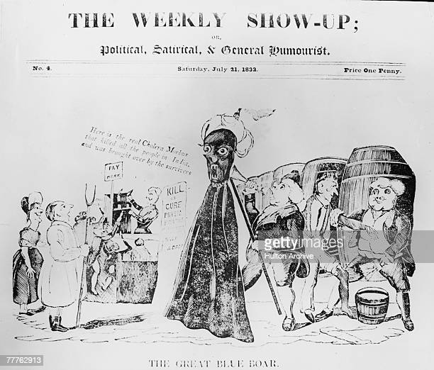 A cartoon from 'The Weekly Showup or Political Satirical General Humourist' 21st July 1832 A man marches through London with an effigy blaming the...