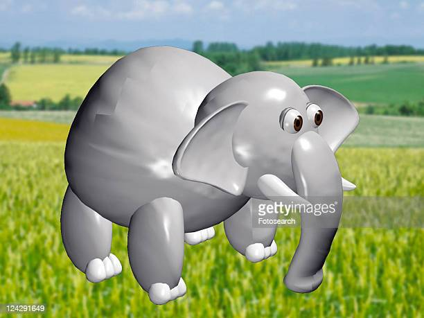 cartoon, green, cute, animal, 3D, elephant