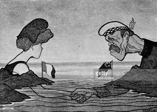 A cartoon illustrates the Entente Cordiale with a French woman shaking hands under the Channel with a British man